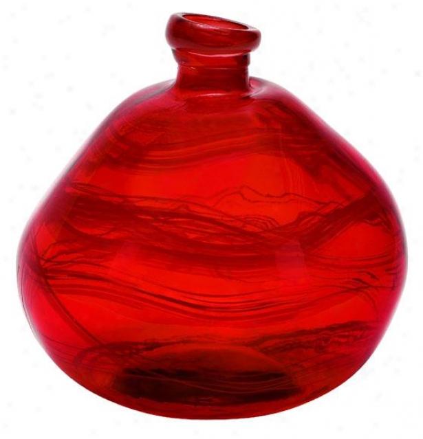 """""""swirl Vase - 13""""""""hx12""""""""w, Red"""""""
