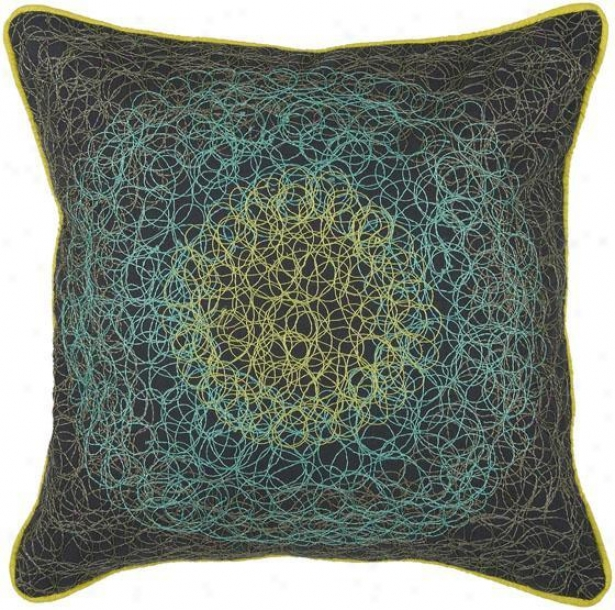 """swirls Pillow - 18"""" Square, Navy/turquoise"""