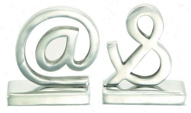 """symbols Bookends - Set Of 2 - 7""""hx6""""w, Silver"""