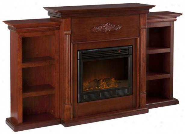 Tabitha Fireplace With Bookcases - Electric Frplce, Maroon