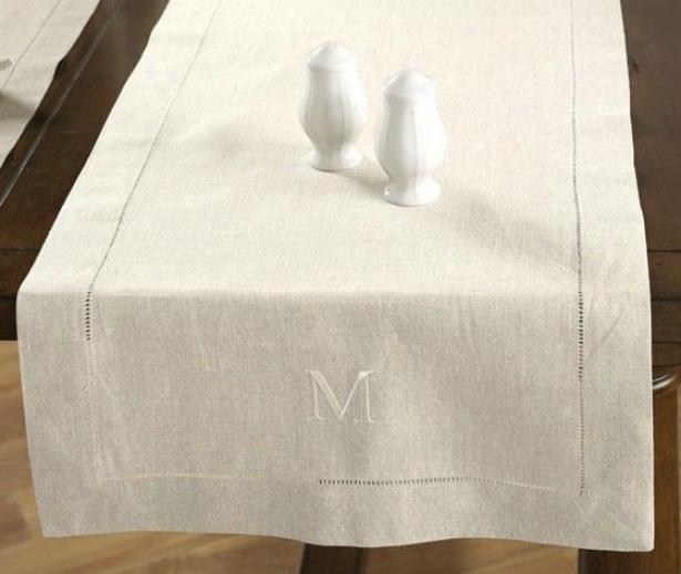 Table Runner - F Monogram, Ivory