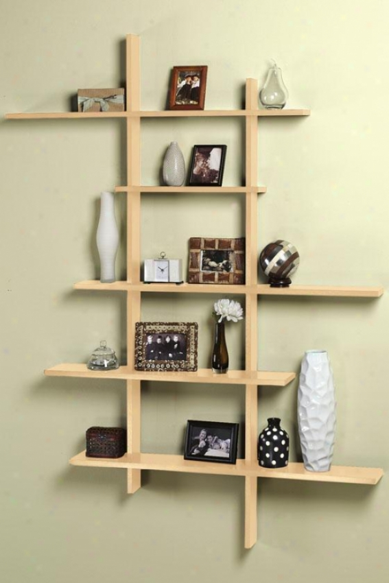 Tall Contemporary Display Shelf - Tall, Brown Wood