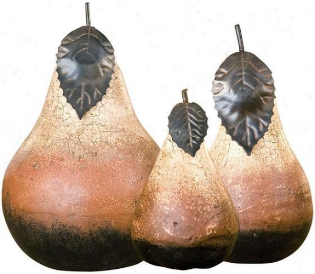 Ter5a Cotta Pears - Set Of 3 - Leaf Accents, Agd Crckldivory