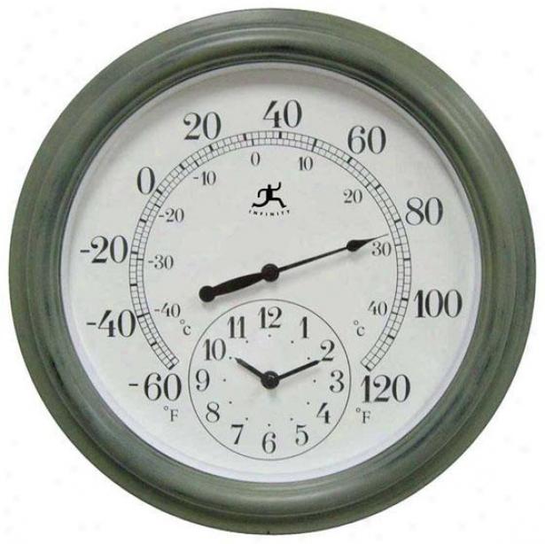 """""""the Contra Clock/thermometer - 16""""""""hx16""""""""w, Verde/green"""""""