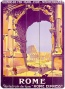 """french Railway Travel Rome Express Wooden Sign - 20"" ""hx14""""w, Orange/purple"""