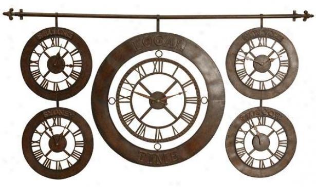 """time Zones Clock - 63""""x34"""", Brown"""