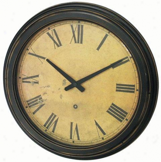 Timepiece - Distressed Case Resin Wall Clock - Wall, Black