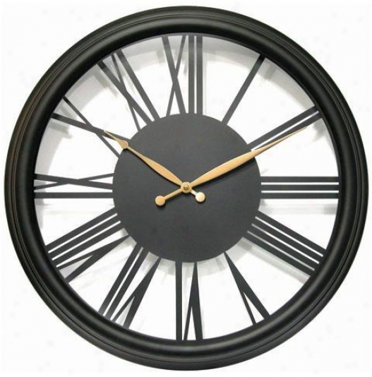 Timepiece - Metal Indoor Outdoor Open Dial Clock - Indoor/outdoor, Black