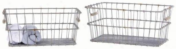 Tin Baskets - Set Of 2 - 19.25x11, Silver