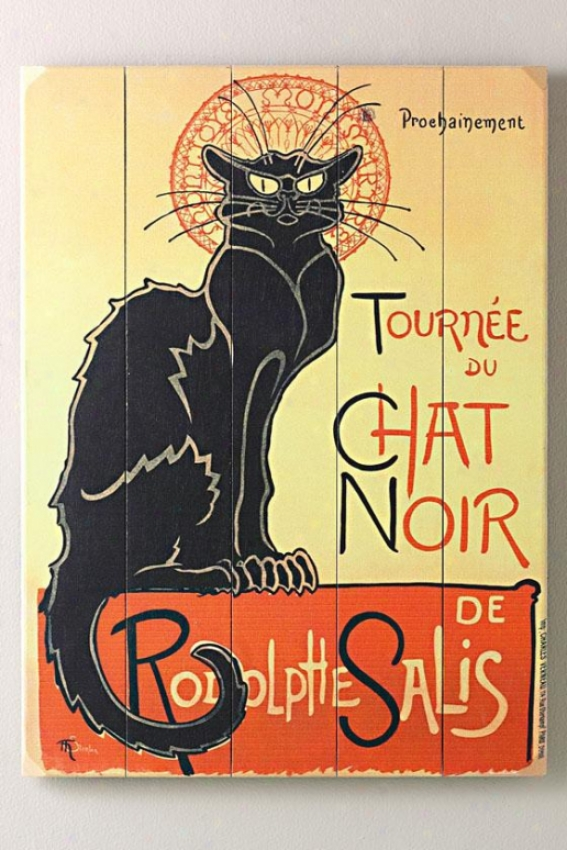"""tournee Du Chat Noir Wooden Sign - 20""""hx1""""w, Black"""