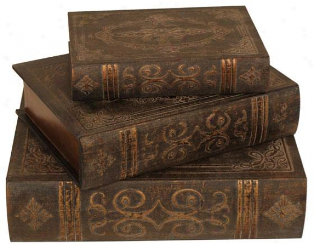 Traditional Book Boxes - Set Of Three, Brown