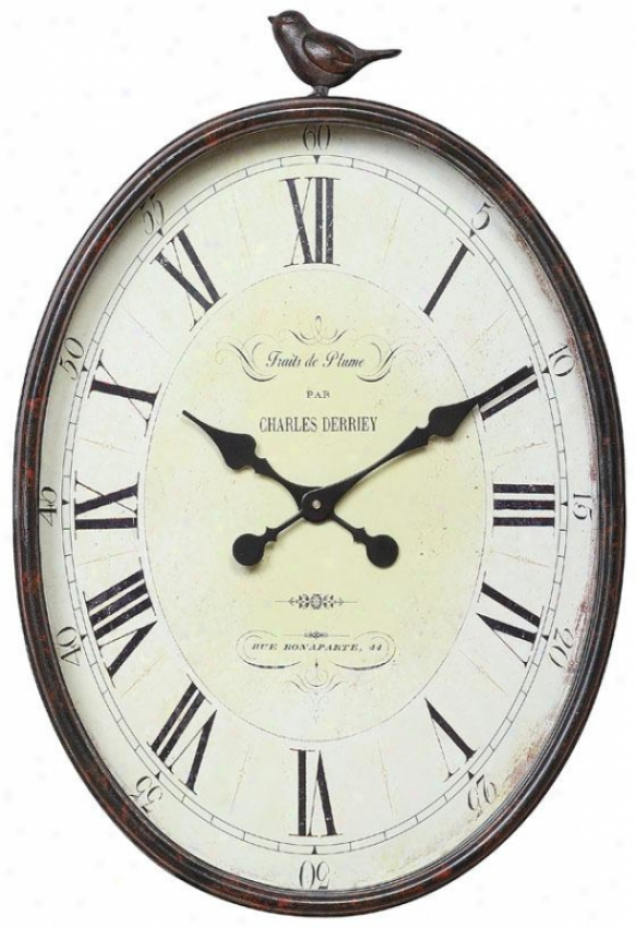 """traits De Plume Wall Clock With Bird - 16.88x3x25.25"""", Brown"""