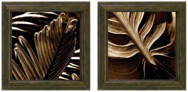 Tropicana Holiday New Leaf Framed Wall Art - Set Of 2 - Set Of Pair, Brown