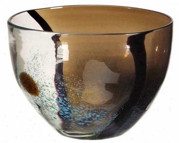 """tsiari Glass Bowl - 6""""hx8.75""""d, Brown"""