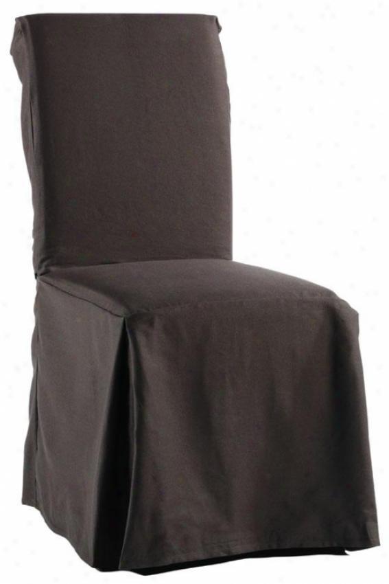 Twill Long Chair Slipcover - Long W/tiea, Coffee Brown