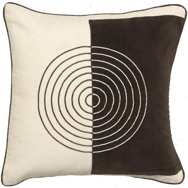 """twost An Turn Pillow - 18""""x18"""", Ecru/chocolate"""