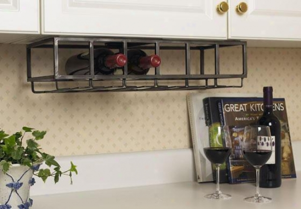 """under Cabinet Wine Rack - 5h X9.5w X23""""d, Antiqued"""