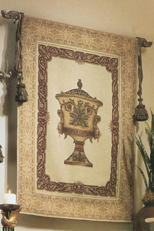 """urn And Lion Tapestry - 48""""hx37""""w, Multi"""