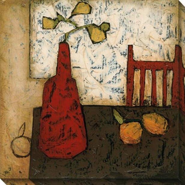 Vase Witth Fruit Iii Canvas Wall Art - Iii, White