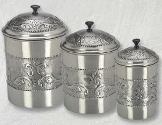 Victoria Antqiue Embossed Pewter Canisters - Set Of 3 - Set Of Three, Gray