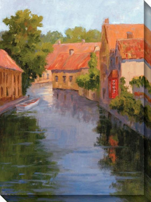 View From The Canal I Canvas Wall Art - I, Orange/blue