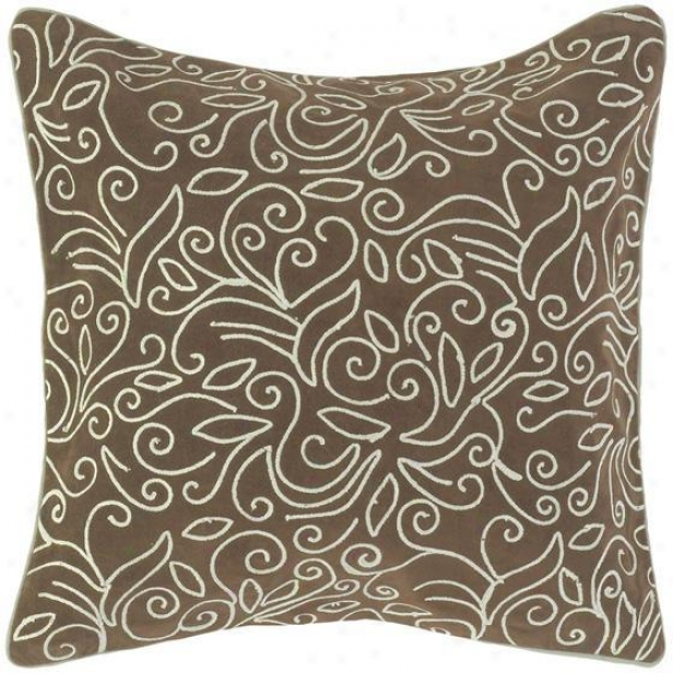 """vines Pillows - Set Of 2 - 18""""x18"""", Espresso/sky"""