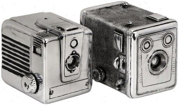 Vintage Camera Boxes - Set Of 2 - Set Of 2, Silver
