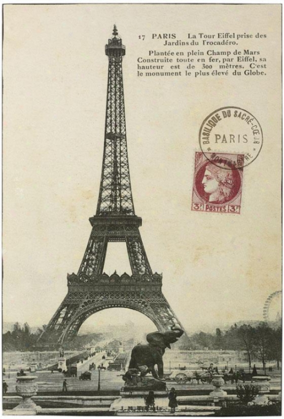 """vintage Eiffel Tower Wall Art - 36""""hx24""""w, Ivory"""