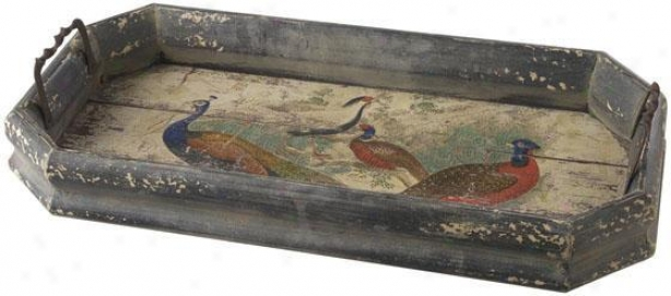 """""""vintage Peacock Tray - 12""""""""x24"""""""", Brown"""""""