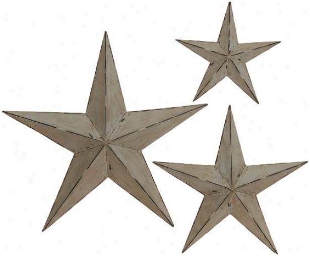 """""""wall Stars - Set Of 3 - S/3 24"""""""",18"""""""",12"""""""", Lt Grey Metalli"""""""