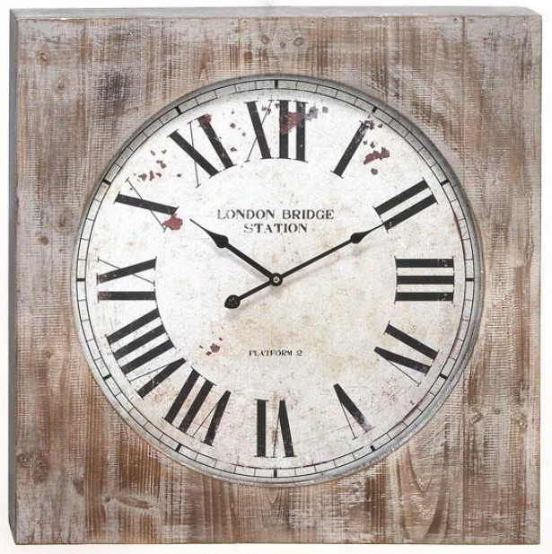 """wesley Wall Clock - 27""""hx27""""wx3""""d, Brown"""