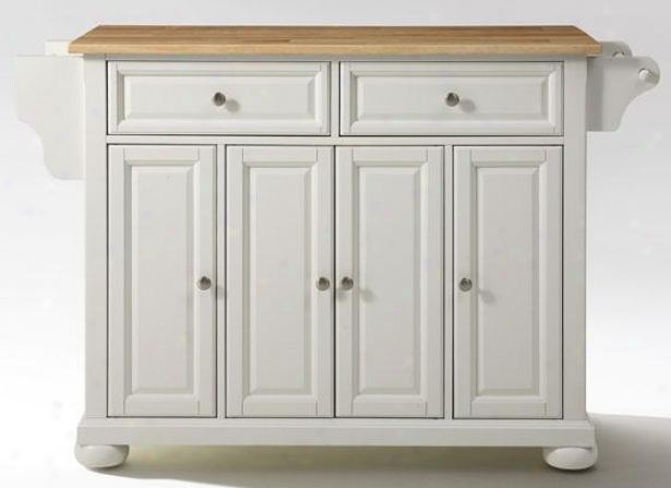 """white Kitchen Cart - 36""""hx52""""wx18""""d, Natural Wood"""