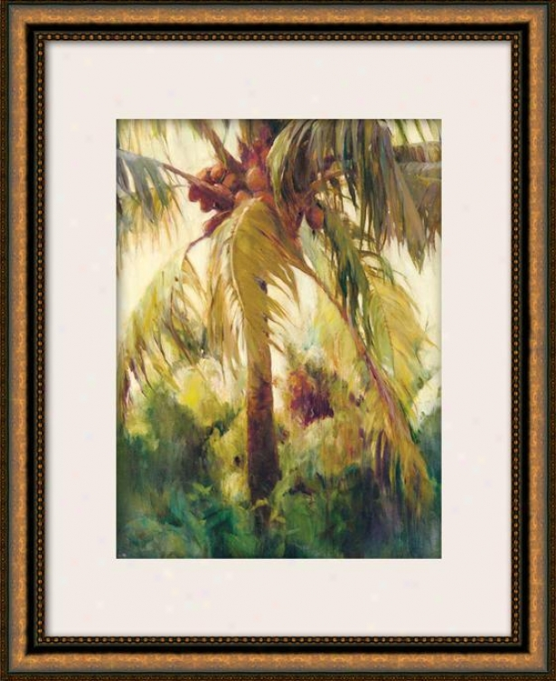 """Uncivilized Coconut Ii Framed Wall Art - 36""""hx29""""w, Matted Gold"""