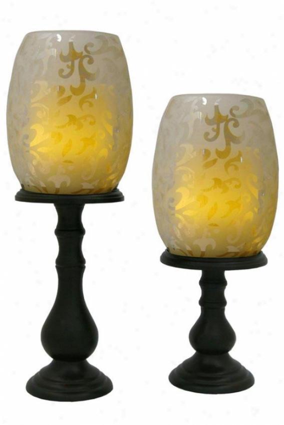 Willmington Flameless Hurricane Candle Set - Set Of Two, Tan