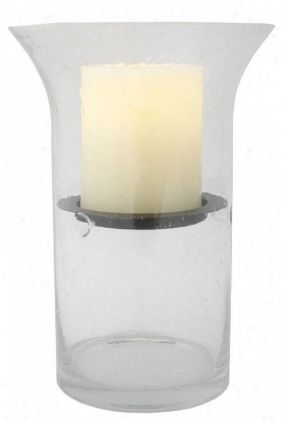 """wilshire Fillable Hurricane Candle - 12.5h X 6""""wx6""""d, Clear Bubbled"""