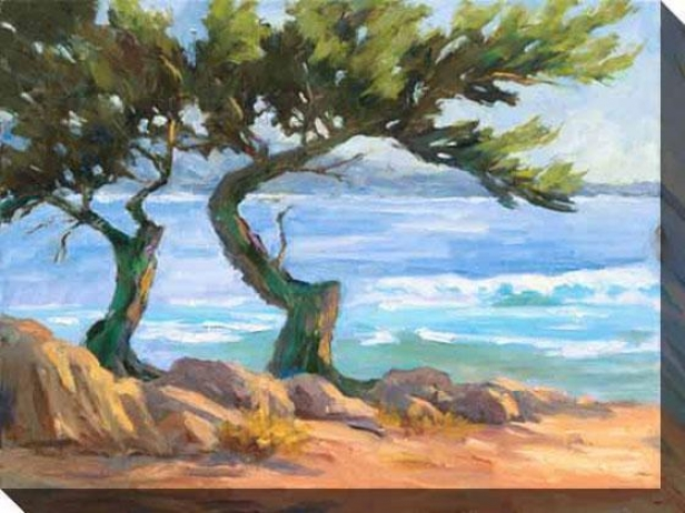 Wind-blown Cypress I Canvas Wall Art - I, Blue
