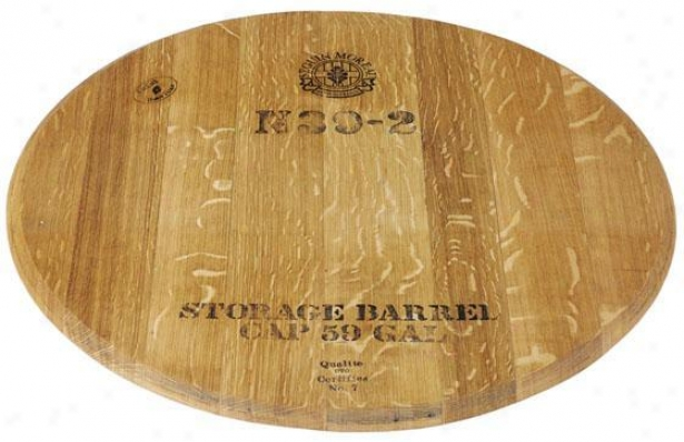 """wine Barrel Lazy Susan - 23""""d, Brown"""