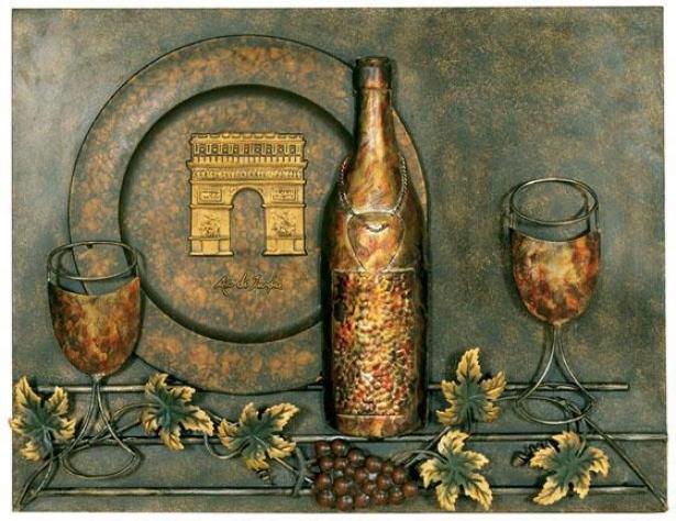 """""""wine Motif Metal Wall Art - 18.25""""""""hx23.75""""""""w, Bronze"""""""