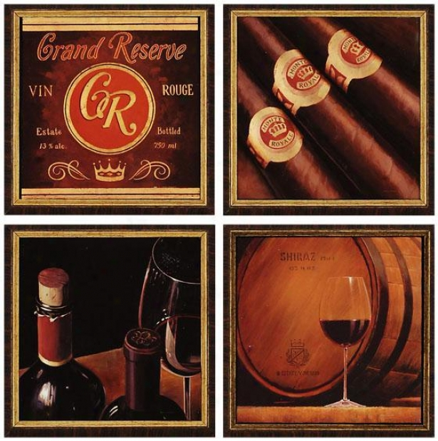 Wine Wall Art - Set Of 4 - Set Of 4, Red