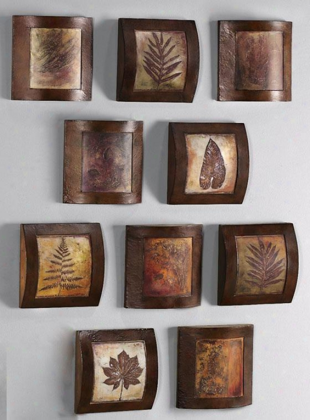 """wooden Fossil Collage Wall Art - 10"""" Square, Multi"""