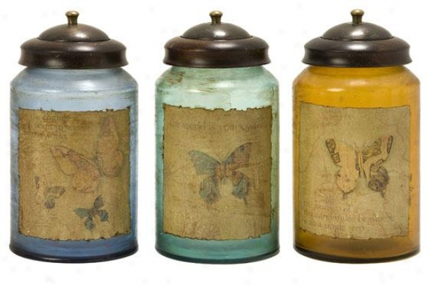 Worldly Butterfly Glass Canisters - Set Of 3 - Set Of Three, Multi-bl/org/tl