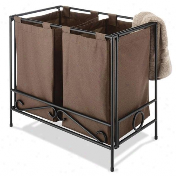 """wrought Iron Folding Double Clothes Laundry Hamper - 24""""hx27""""wx15""""d, Brown"""