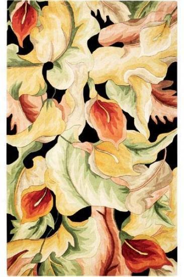 Calla Lilies Area Rug - 5'x8', Black