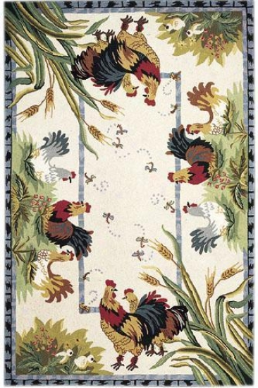 Roosters Area Rug - 3' Round,_Ivory
