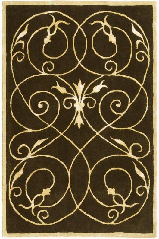 """scrolls Rug Design - 2'6""""x14' Runner, Chocolate Brown"""