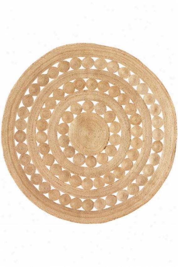 Soleil Make circular Hemp Rug - 4' Round, Ivory