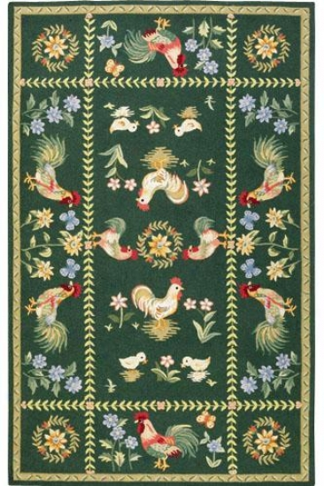 """spring On The Farm Area Rug - 7'9""""x9'9"""", Green"""