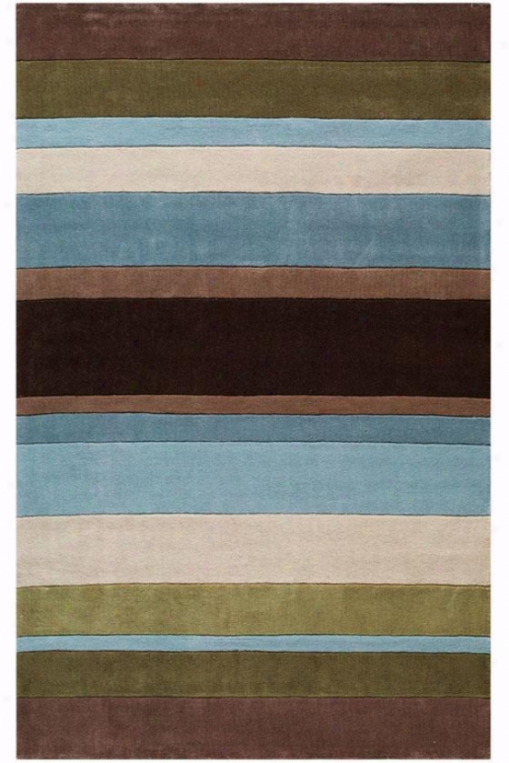Strip3 Area Rug - 8' Round, Blue