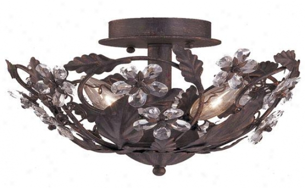 """abbie 12""""w Semi-flush Mount - 3-light, Imbrown"""