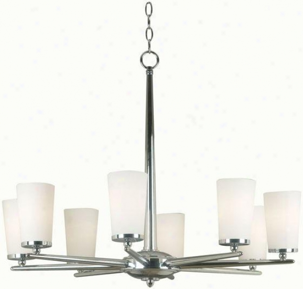 """aerial 8-light Chandelier - 25""""hx32""""d, Steel Gray Nickel"""